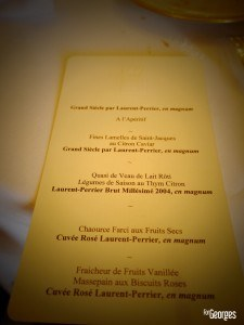 Laurent-Perrier Champagne - Chateau de Louvois Menu - ForGeorges