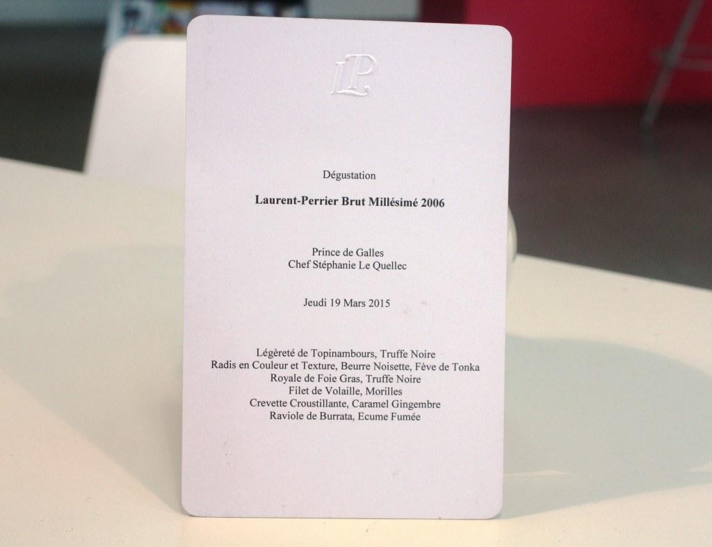Menu Stéphanie Le Quellec, Champagne Laurent Perrier