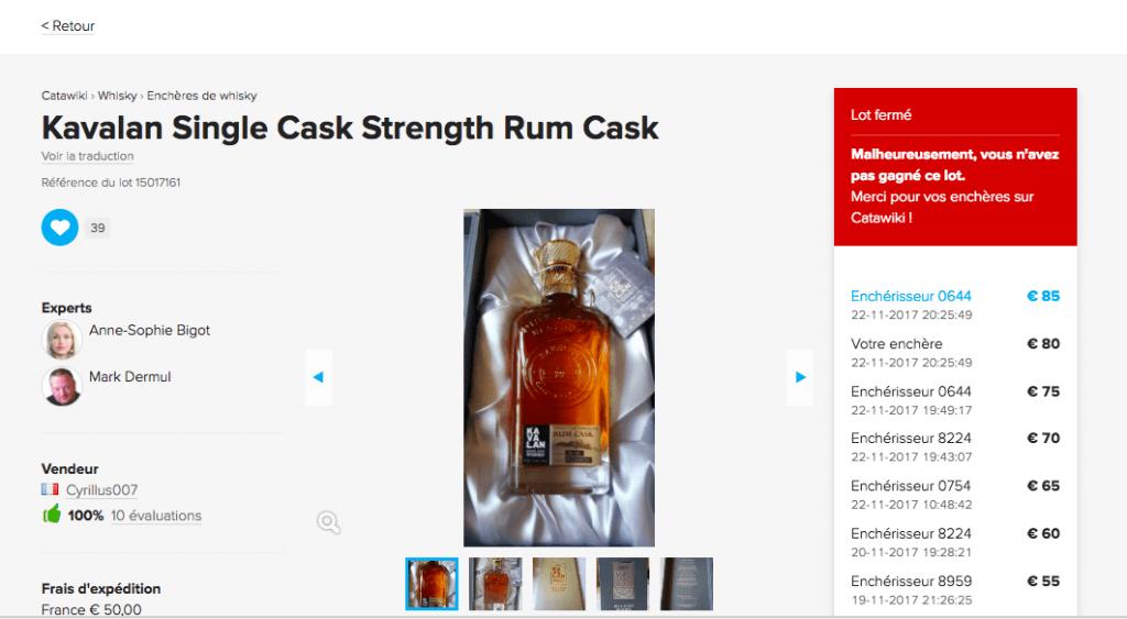 Catawiki enchère whisky ratée
