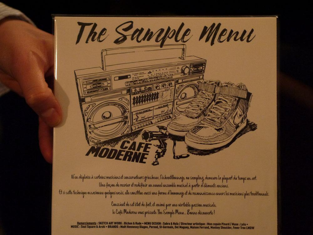 The sample Menu café Moderne