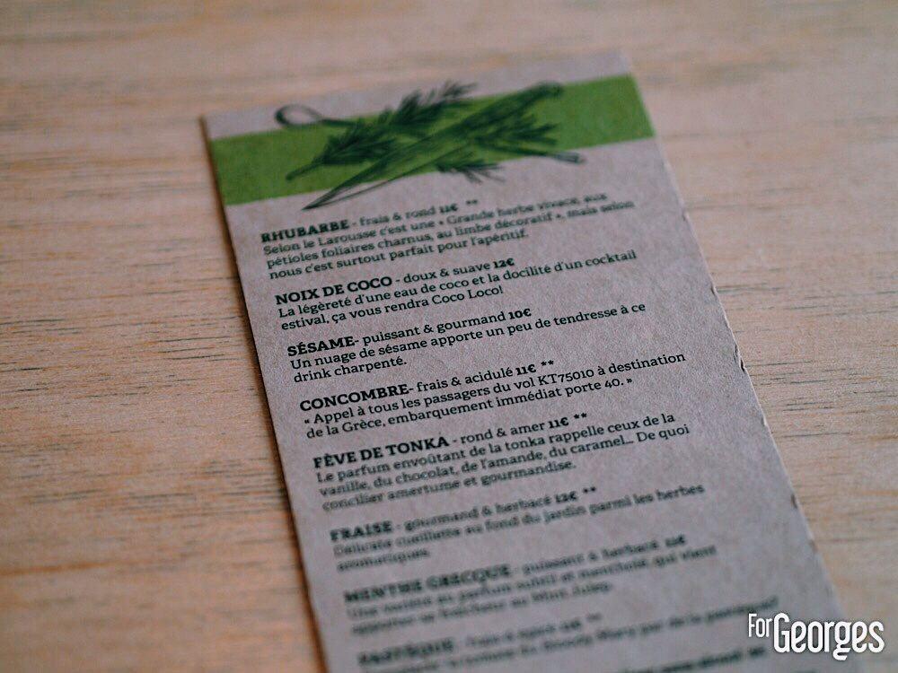 Menu Kouto bar à cocktail Paris