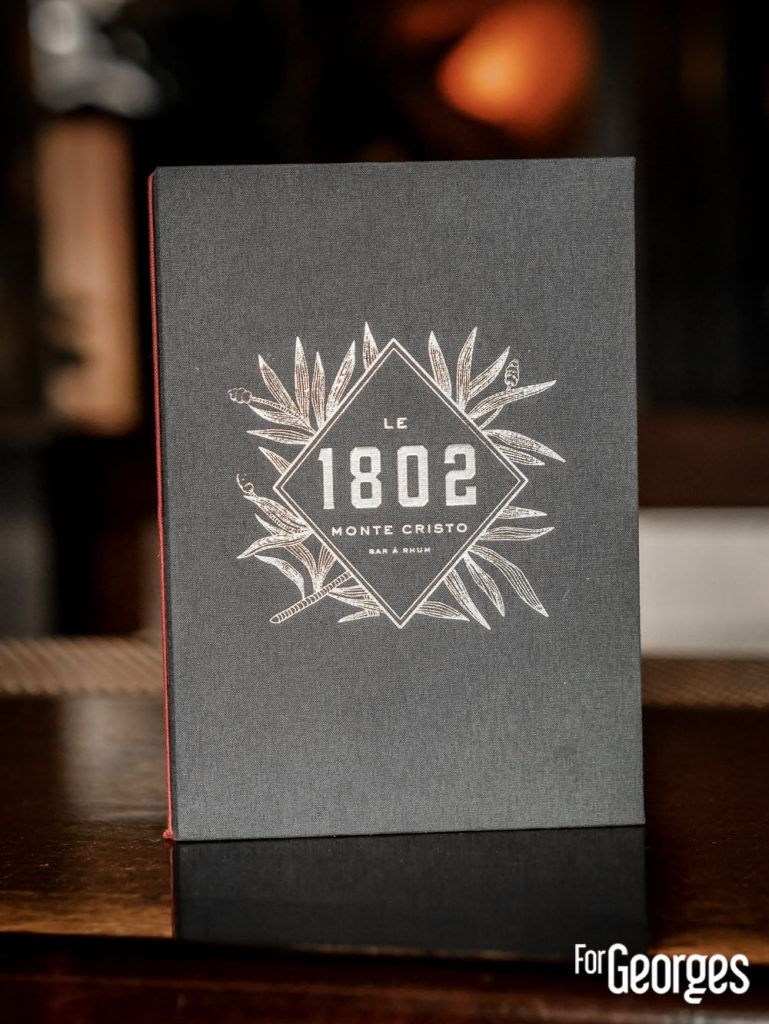 Carte du bar 1802 PAris