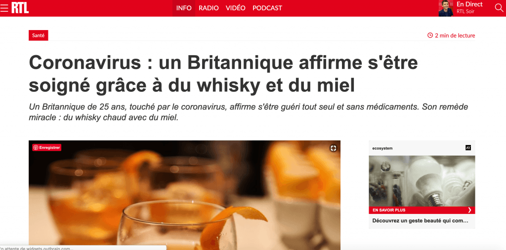 Coronavirus whisky miel