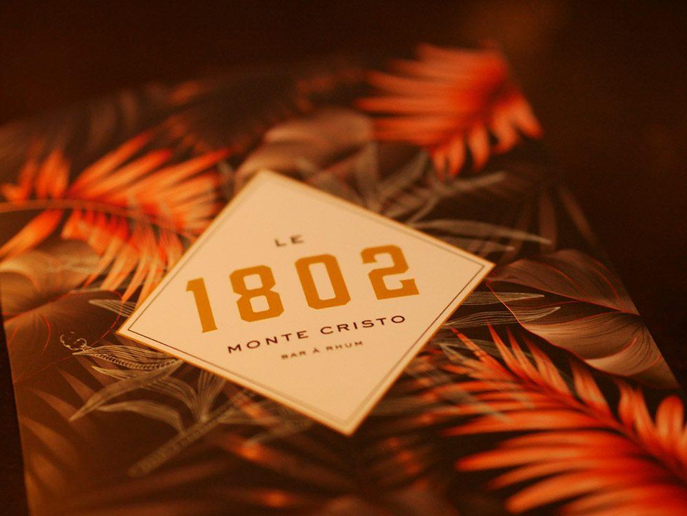 Bar 1802 carte cocktail